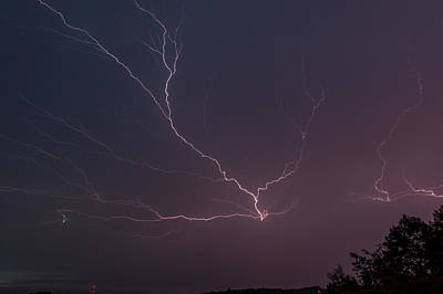Lightning Over Lake Lanier Poster by Michael Sussman