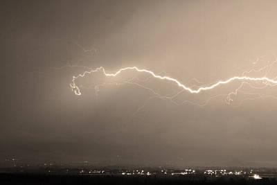 Lightning Over North Boulder Colorado  Ibm Sepia Poster
