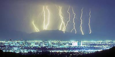Lightning Over Phoenix Arizona Panorama Poster