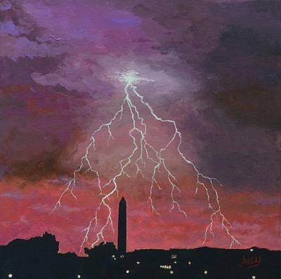 Lightning Over Washington Dc Poster