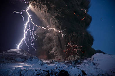 Lightning Pierces The Erupting Poster by Sigurdur H Stefnisson