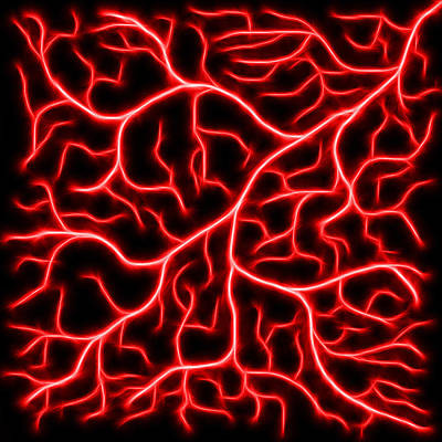 Poster featuring the digital art Lightning - Red by Shane Bechler