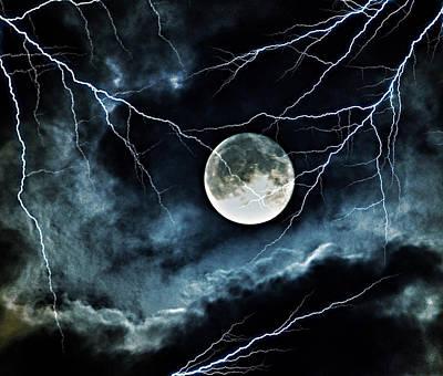 Lightning Sky At Full Moon Poster by Marianna Mills