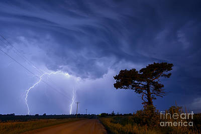Lightning Storm On A Lonely Country Road Poster