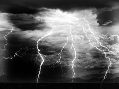Lightning Storm Over The Plains Poster