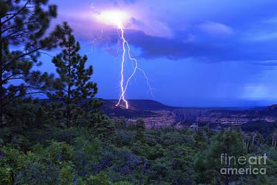 Lightning Strike Above Arch Canyon - Utah Poster