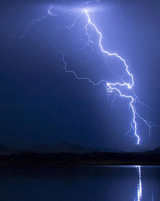 Lightning Strike In The Blue Night  Poster