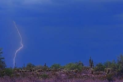 Lightning Strike In The Desert Poster