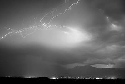 Lightning Strikes Over Boulder Colorado Bw Poster by James BO  Insogna
