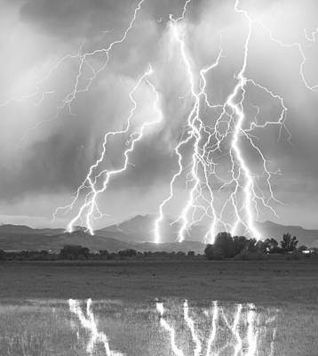 Lightning Striking Longs Peak Foothills 4cbw Poster