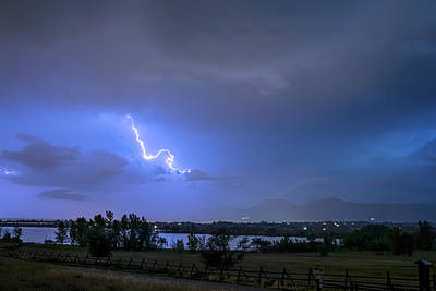 Poster featuring the photograph Lightning Striking Over Boulder Reservoir by James BO Insogna
