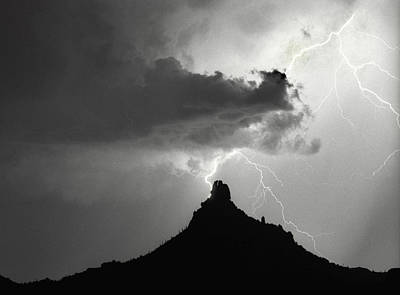 Lightning Striking Pinnacle Peak Arizona Poster by James BO  Insogna
