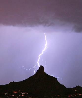 Lightning Striking Pinnacle Peak Scottsdale Az Poster
