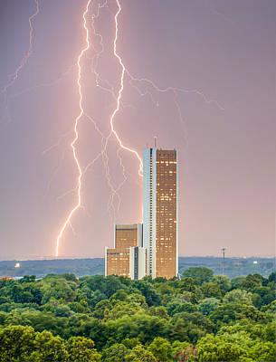 Lightning Surrounding Cityplex - Tulsa Oklahoma Poster by Gregory Ballos