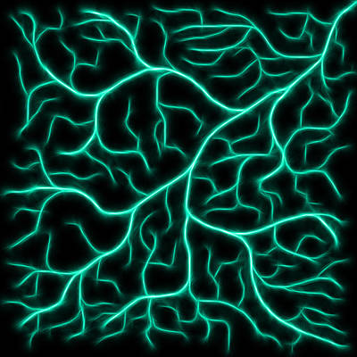 Poster featuring the digital art Lightning - Teal by Shane Bechler