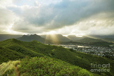 Lightrays Over Ko'olau Mountains Poster by Charmian Vistaunet