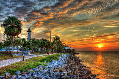 Lights Out Suns Up St Simons Island Lighthouse Sunrise Art Poster by Reid Callaway