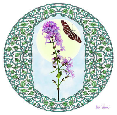 Poster featuring the digital art Lilac With Butterfly by Lise Winne