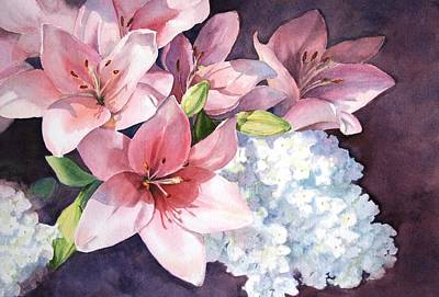 Poster featuring the painting Lilies And Hydrangeas - II by Vikki Bouffard