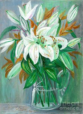 Lilies In A Glass Vase - Painting Poster by Veronica Rickard