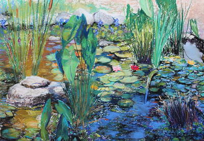 Poster featuring the painting Lily Pond by M Diane Bonaparte