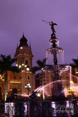 Lima Cathedral And Fountain At Sunset Peru Poster by James Brunker