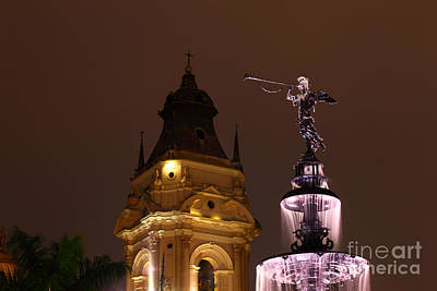 Lima Cathedral Tower And Fountain Poster by James Brunker