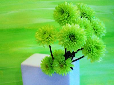 Lime Flowers Poster
