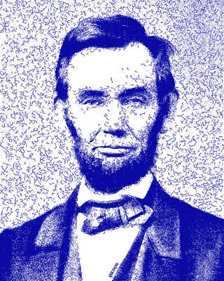 Lincoln Abstract Blue Poster by Greg Collins