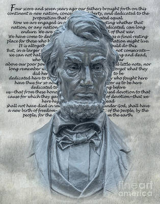 Lincoln Bust And Gettysburg Address Poster by Randy Steele