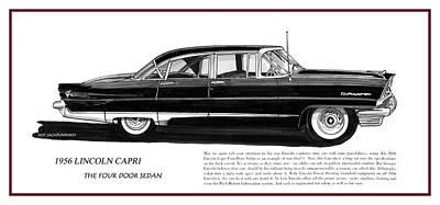 Lincoln Capri 1956 Poster by Jack Pumphrey
