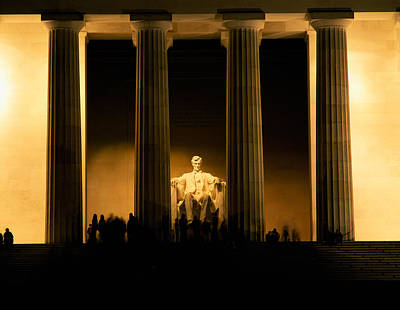 Lincoln Memorial Illuminated At Night Poster by Panoramic Images