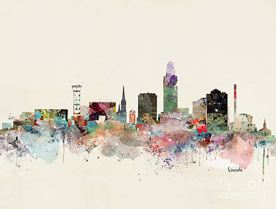 Lincoln Nebraska Skyline Poster