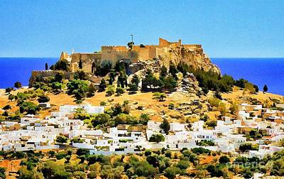 Lindos Rhodes Greece Poster by Bob Lentz