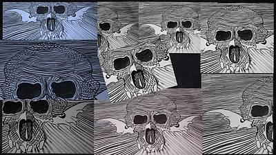 Line Skulls Collage Poster