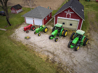 Lining Up The Tractors Poster