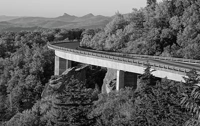 Linn Cove Viaduct Black And White Poster by Dan Sproul