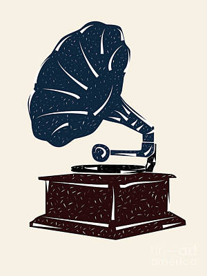 Linoleum Cut Gramophone Design Poster