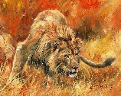 Poster featuring the painting Lion Alert by David Stribbling