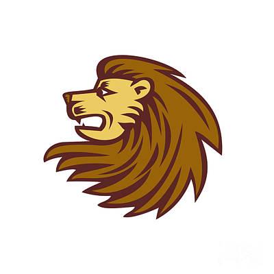 Lion Big Cat Head Woodcut Poster by Aloysius Patrimonio