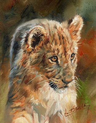 Poster featuring the painting Lion Cub Portrait by David Stribbling