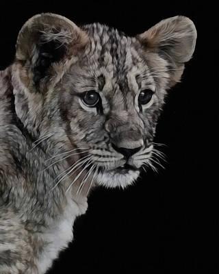 Lion Cub Portrait Poster by Ernie Echols
