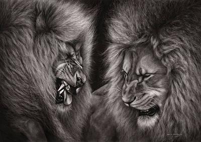 Lion Fight Poster by Danguole Serstinskaja
