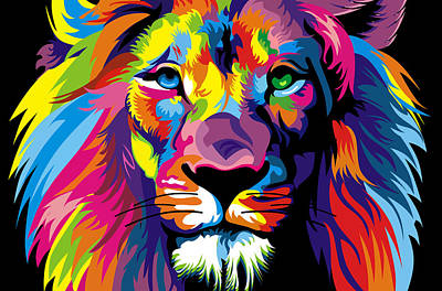 Lion Fool Colors  Poster