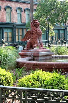 Lion Fountain In Savannah Poster