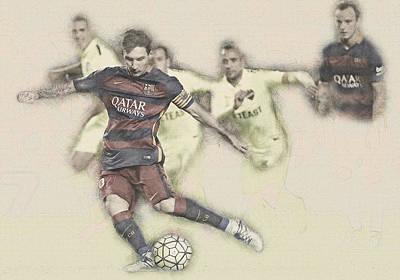Lionel Messi Scores A Penalty Kick Against Levante  Poster