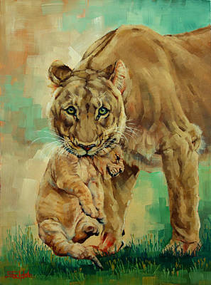 Lioness And Cub Poster