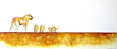 Lioness And Cubs - Original Artwork Poster