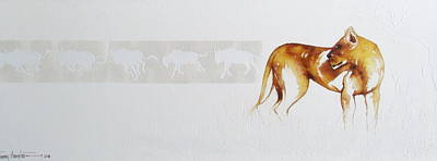 Lioness And Wildebeest Poster