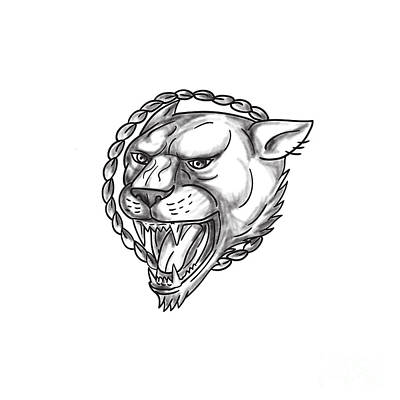 Lioness Growling Rope Circle Tattoo Poster by Aloysius Patrimonio
